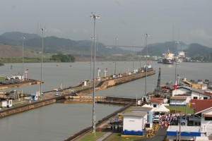 Exiting Miraflores Locks