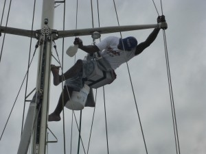 Alonzo Cleaning the Mast & Spreaders