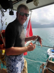 Mike cleaning a Lion Fish