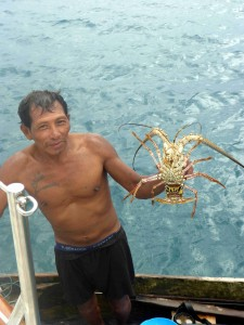 Buying lobster from a local.